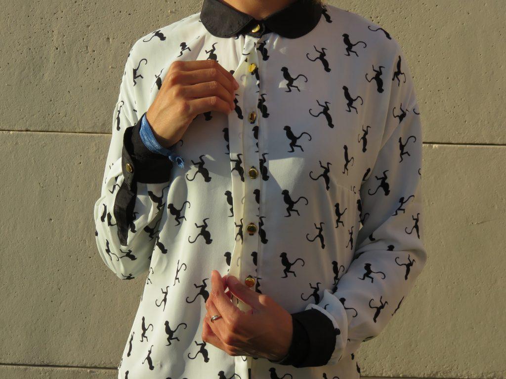 nom d une couture chemise melilot deer and doe tissu monkey wistiti singe diffus laine tissus pattern