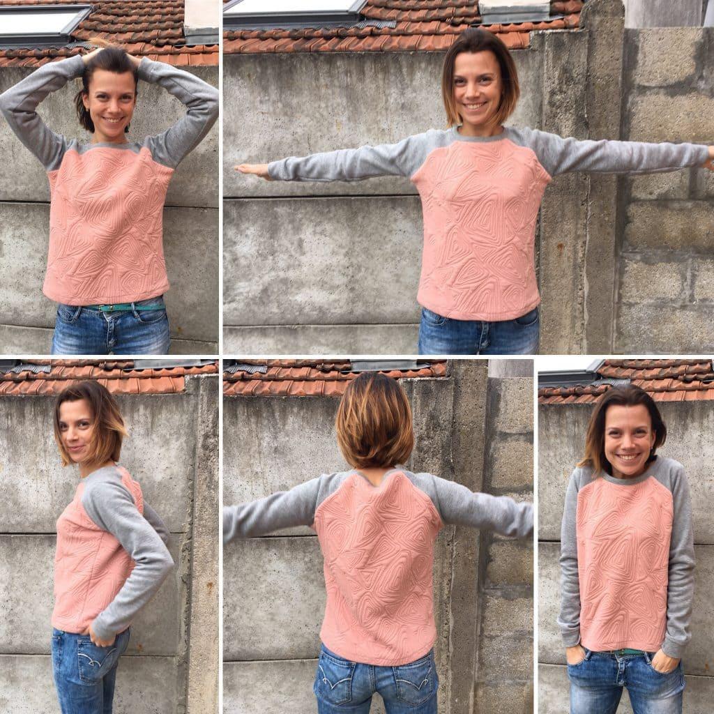 nom d'une couture sweat rose et gris bicolor handmade concours mondial tissu 2015 2016