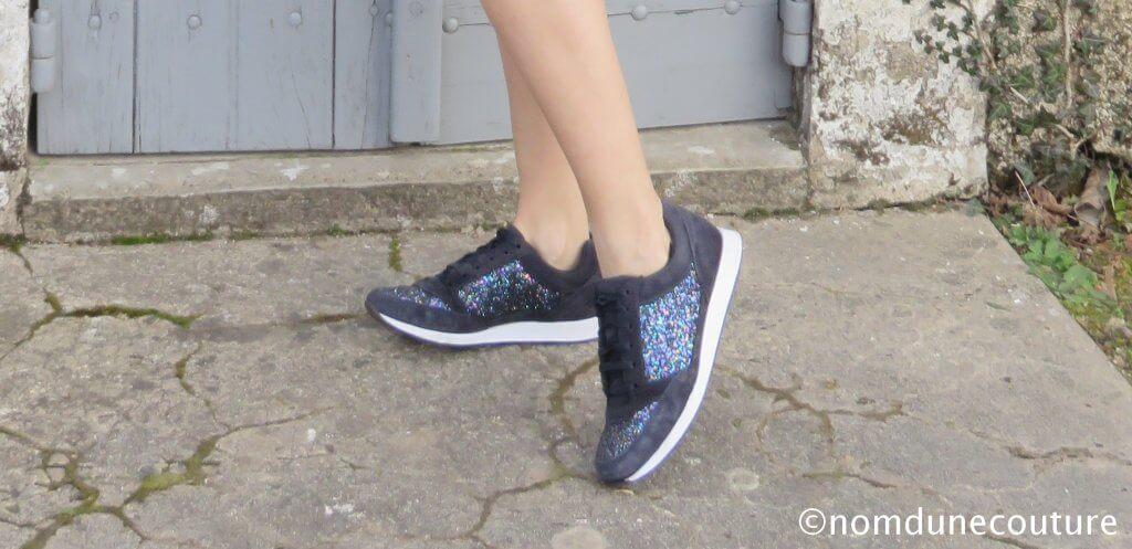Basket à paillettes André chaussure / Nom d'une couture !