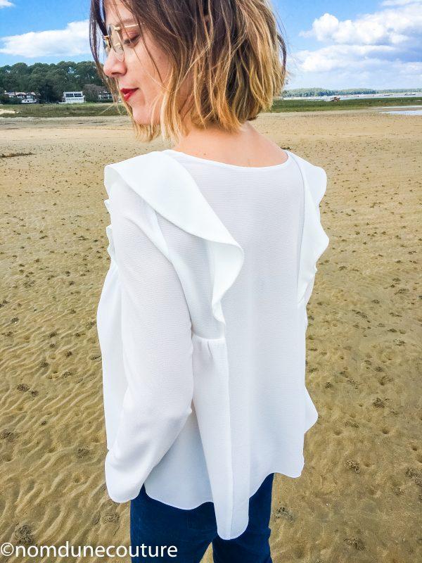 blouse à volants en crêpe blanc