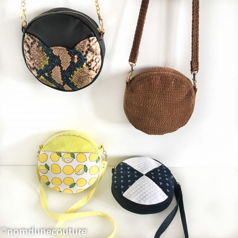 les différentes versions du patron sac rond sun nom d'une couture