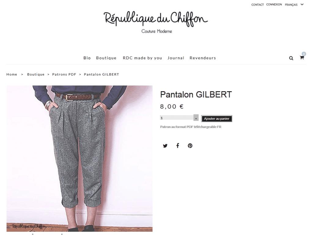 Nom d'une couture ! Pantalon Gilbert -La République du Chiffon