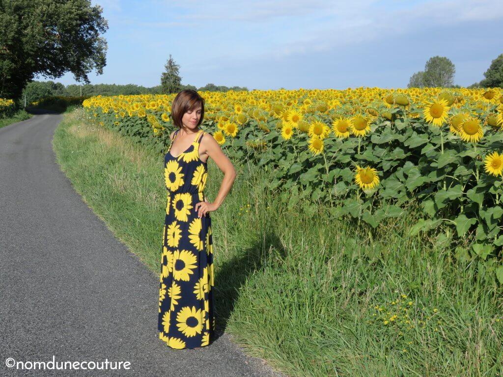 maxi dress tissu tournesol