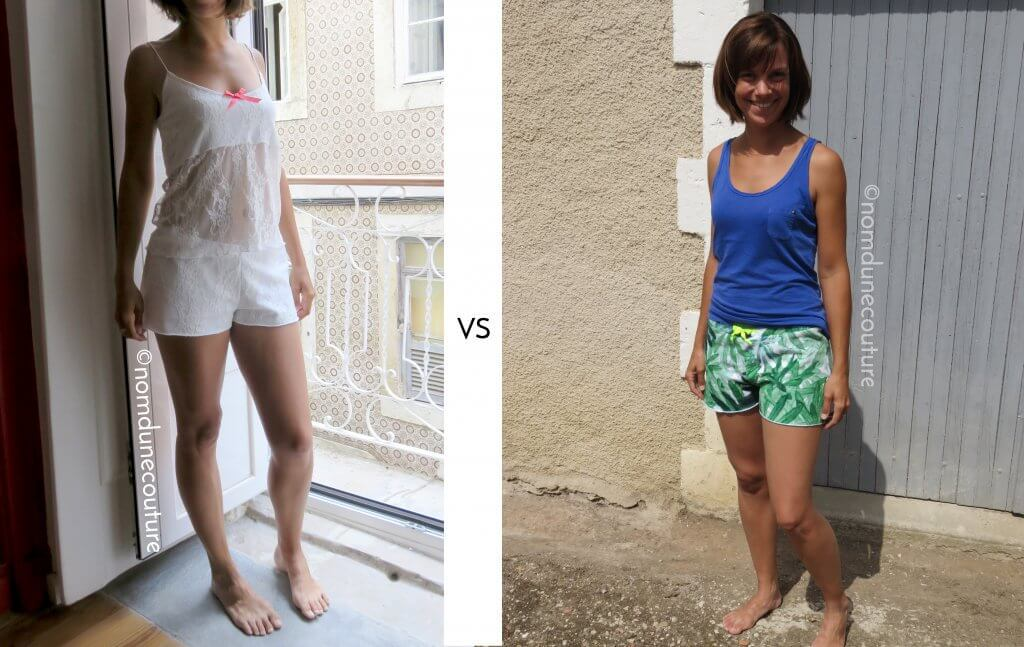 ensemble Anna en dentelle vs short Anna en velours éponge