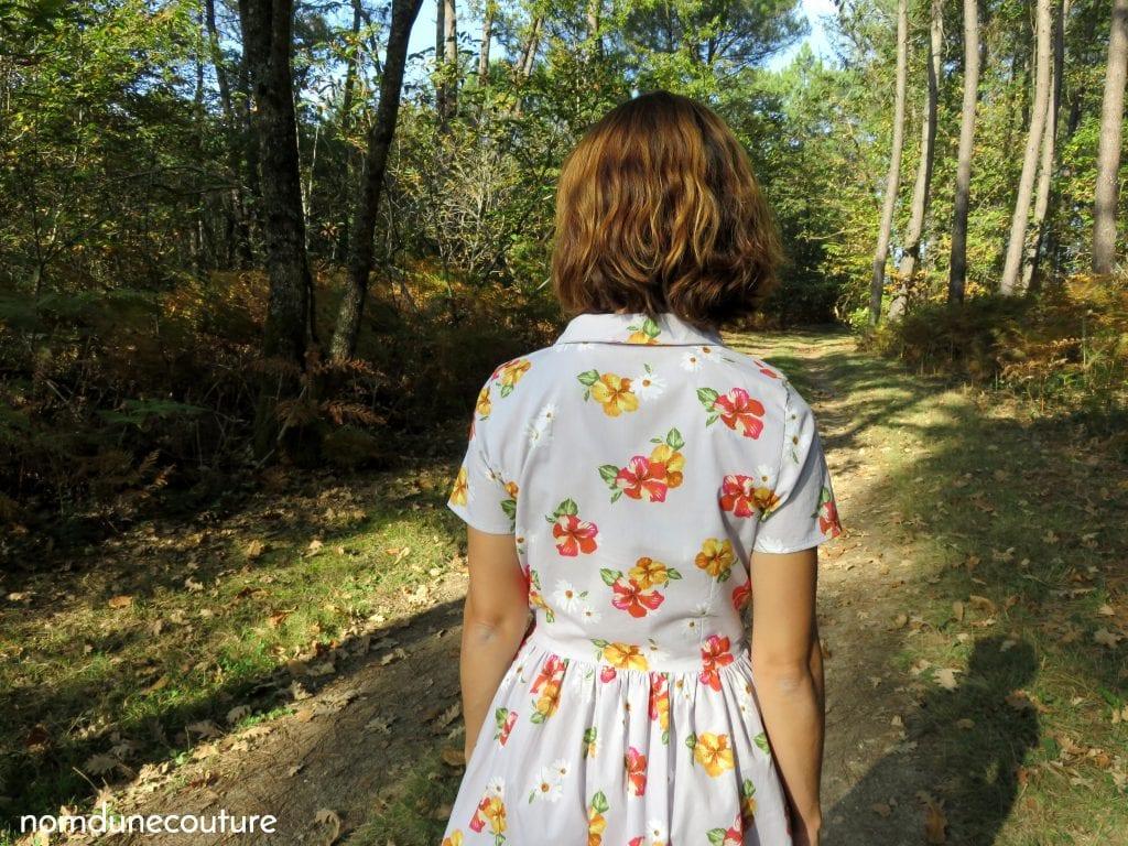 dos de la robe cami dress à fleurs pauline alice pattern