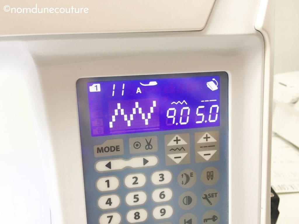 Longueur et largeur de point maximum d'une machine à coudre