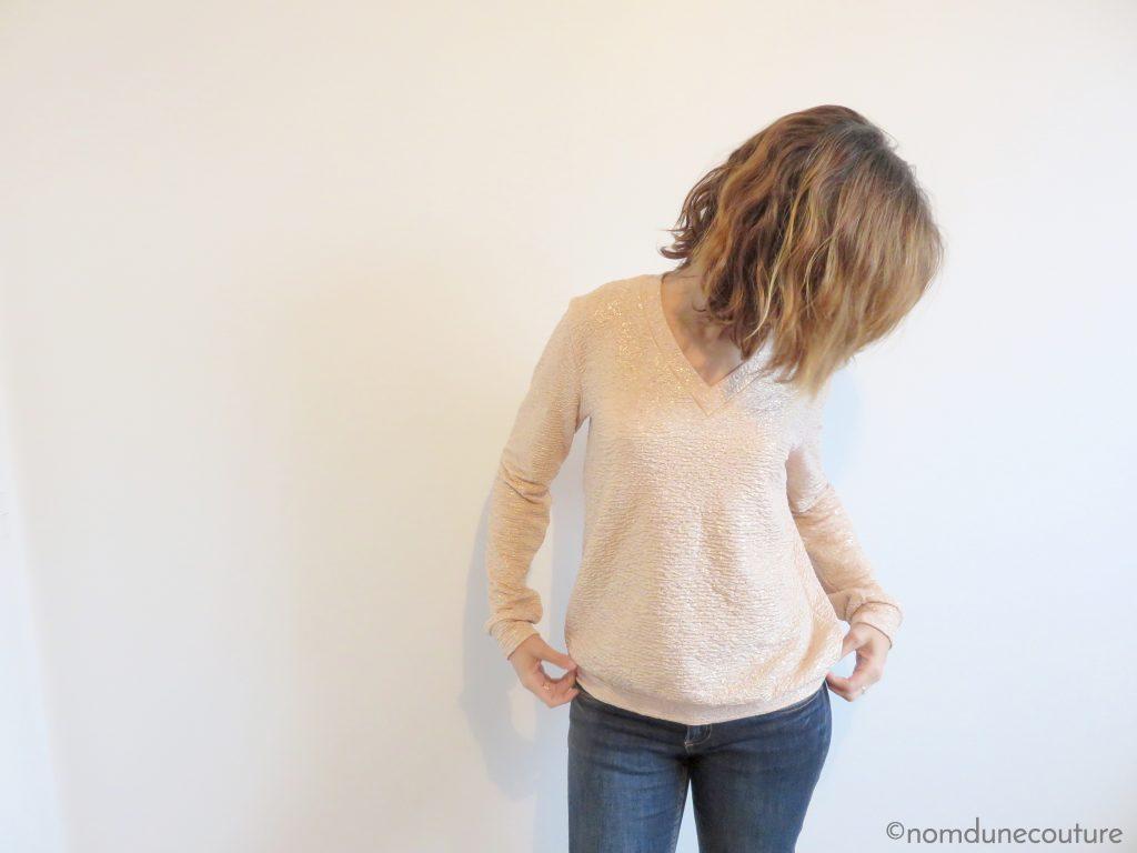 sweat Courcelles en jersey nude et lurex mercerine