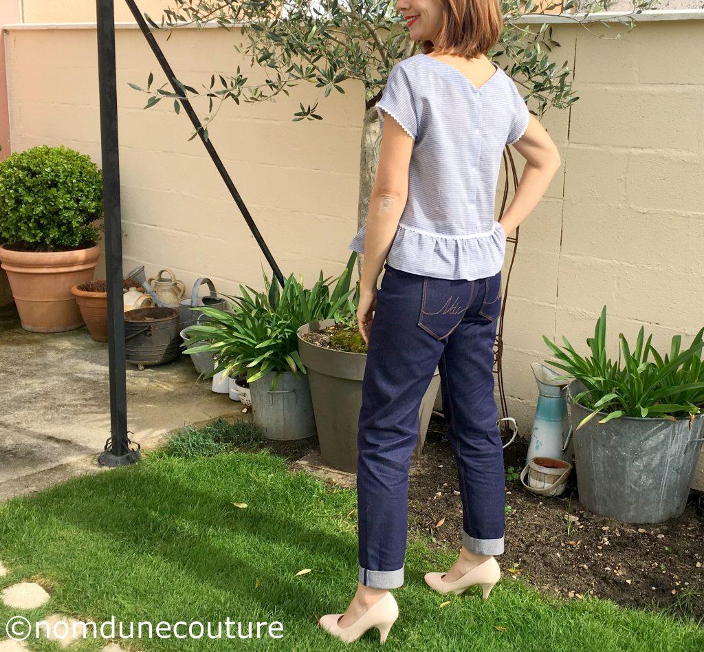 jean pop corn blousette rose poches plaquées brodées