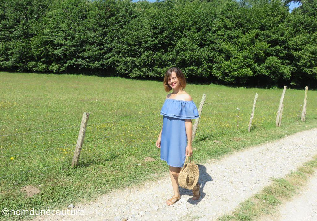 patron gratuit couture robe Bardot volantée aux épaules