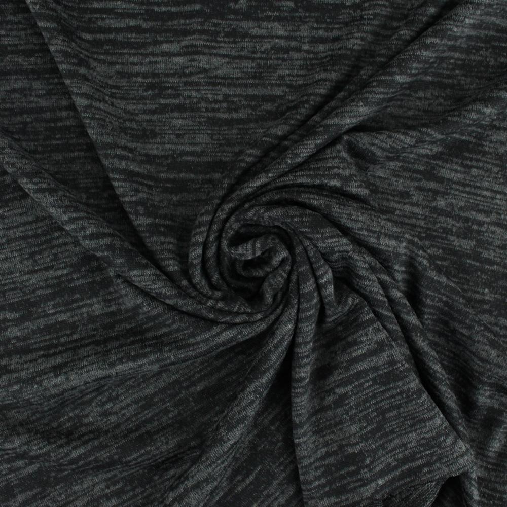 tissu jersey noir chiné maille effet pull