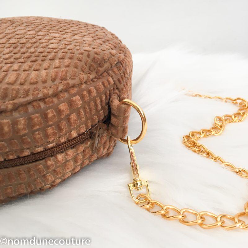 patron sac rond sun camel et bandoulière chaine