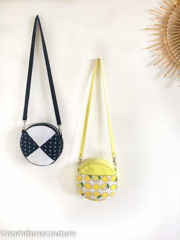 deux versions du sac rond sun triangle et poche droite
