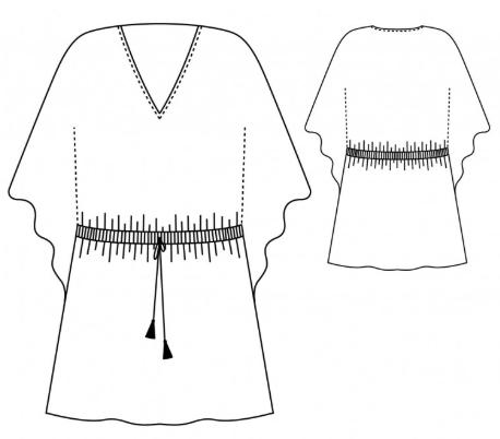 schéma du patron de la robe Hélios Atelier Scämmit version courte grandes manches
