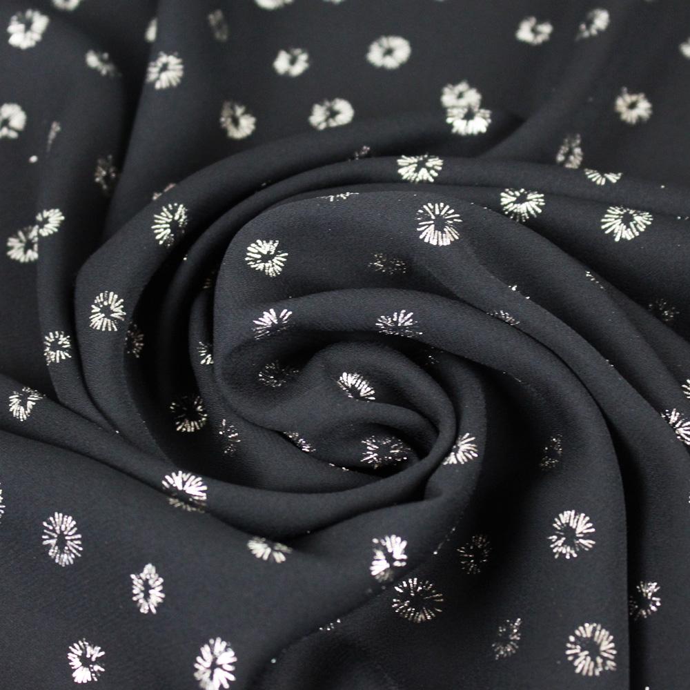 crêpe fin lurex noir doré fleurs mouna sew