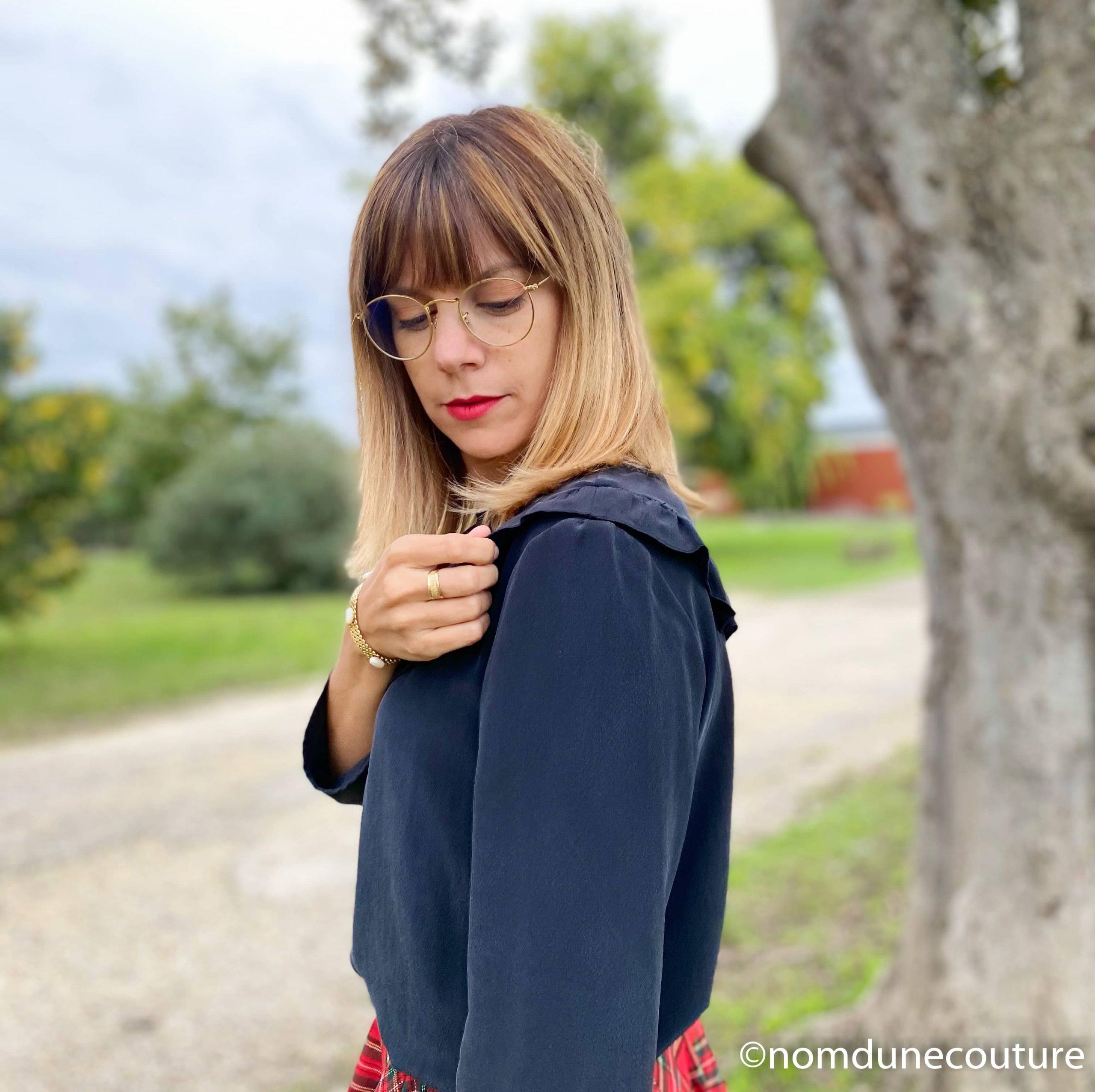 volant blouse walk like me en soie noire