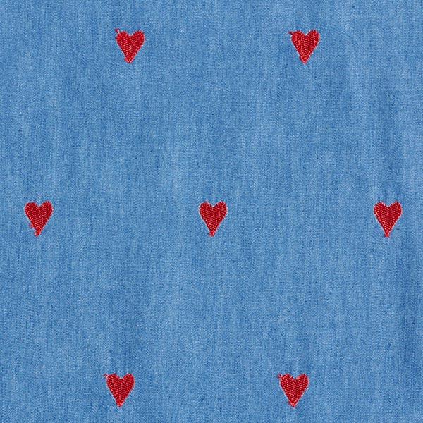 chambray denim bleu à cœur rouge brodé