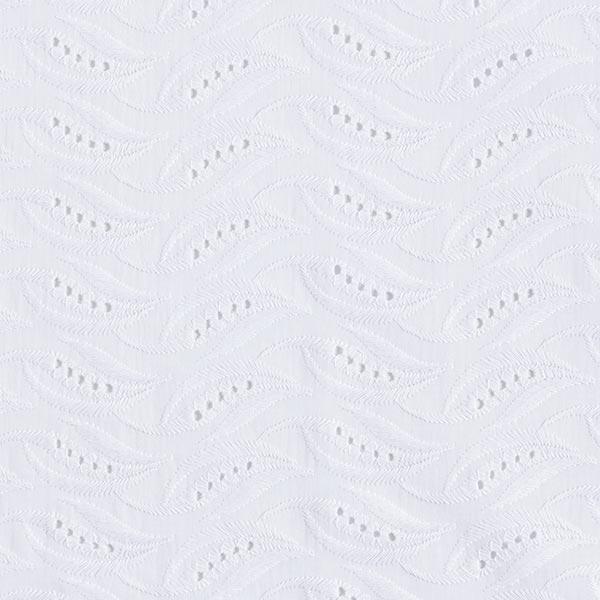 tissu batiste dentelle brodée feuille blanche