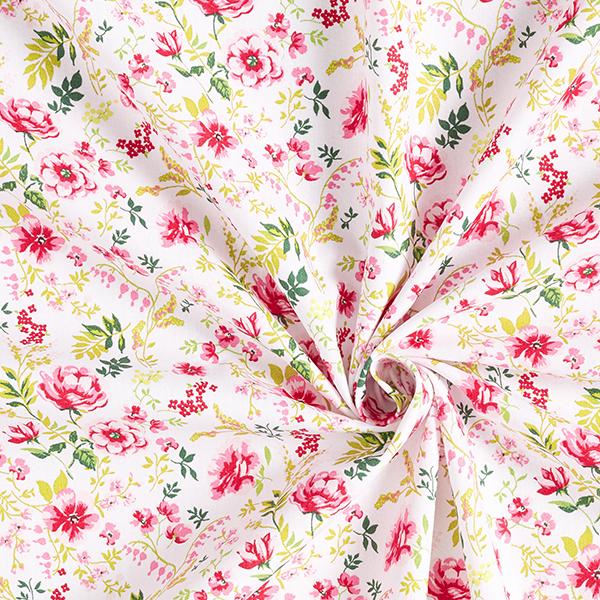 coton fleuri blanc et rose sauvage