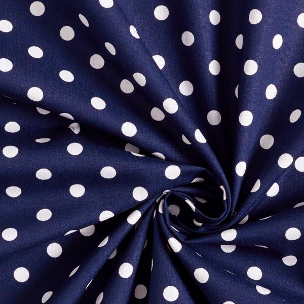 coton bleu marine à grand pois blanc