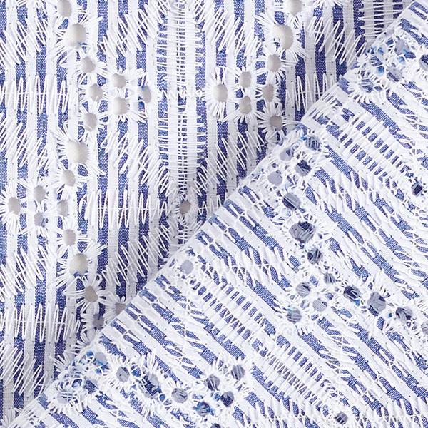 tissu bordure brodé rayé bleu et blanc à fleurs