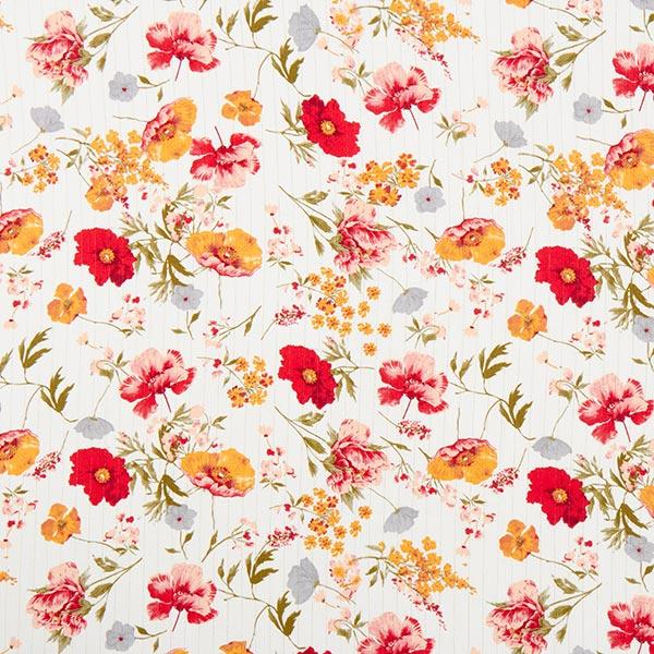 tissu rayure brillante fleur rouge
